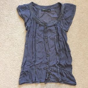 Zara trf grey chiffon blouse